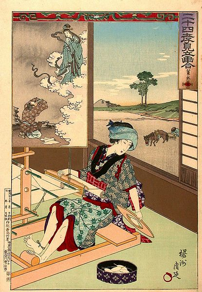 Yōshū Chikanobu, A Woman Weaving.