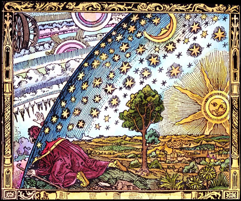 A medieval missionary tells that he has found the point where heaven and Earth meet. 1888. Camille Flammarion, L'Atmosphere Météorologie Populaire, Paris, 1888.