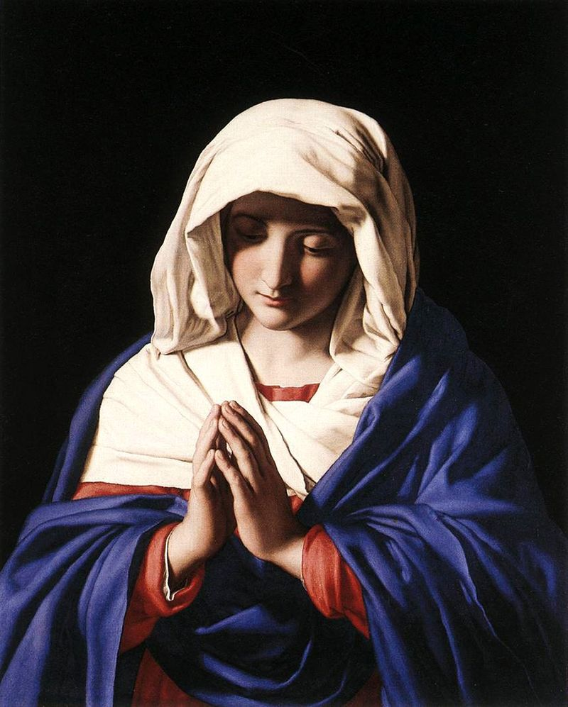 The Virgin in Prayer 1640-1650, Sassoferrato.